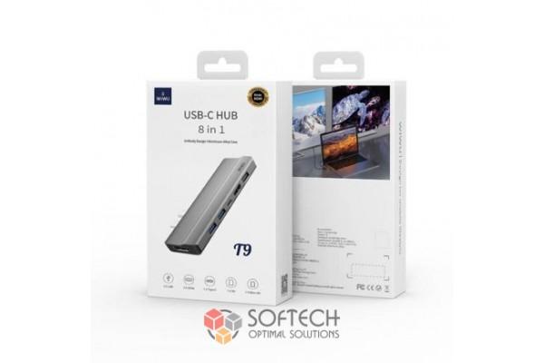 Адаптер-переходник Wiwu Adapter USB Type-C 8 in 1 T9 для Apple Macbook