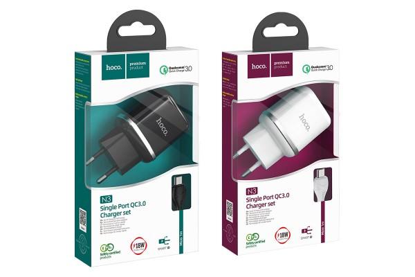 """Набор зарядного устройства с кабелем Cutting-edge"""" EU QC3.0 с одним USB портом N3"""