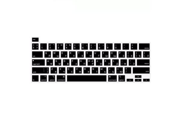 Накладка на клавиатуру MacBook Pro 13/16 c TouchBar черная с русскими буквами