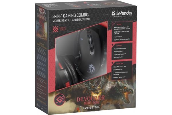 Игровой набор Defender Devourer (MHP-006) мышь+гарнитура+ковер