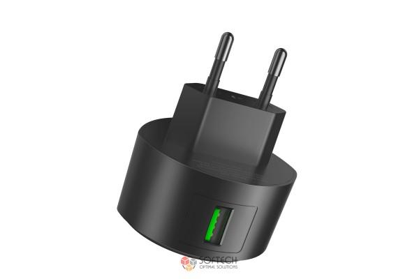 Зарядное устройство Hoco C68A Shell QC3.0 с одним USB портом EU