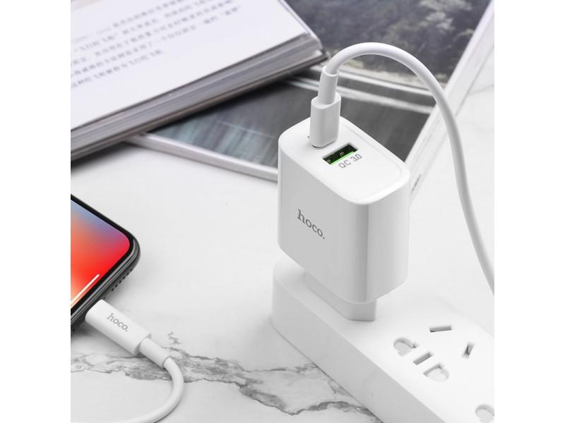 Набор зарядного устройства Hoco C57A Speed charger с кабелем EU