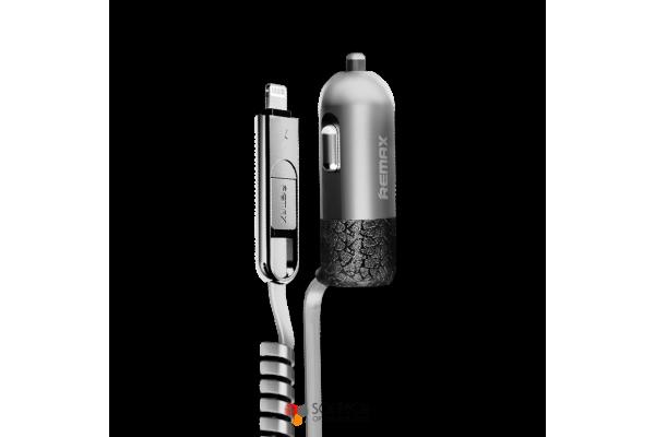 Автозарядка Remax Finchy 3.4A с встроенным кабелем Lightning/micro USB + USB выход
