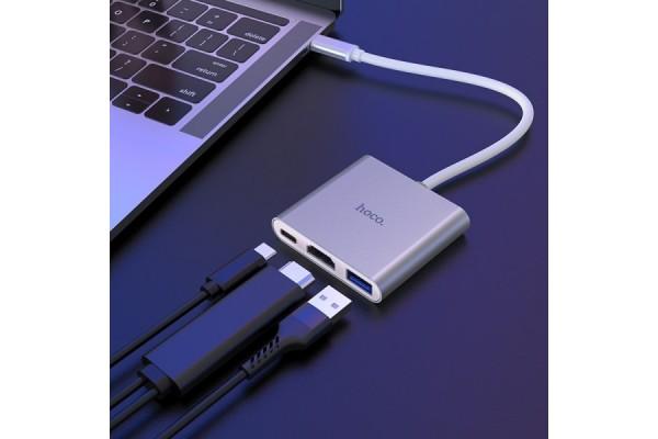 Адаптер Hoco Type-C для USB3.0 + HDMI + PD (HB14)
