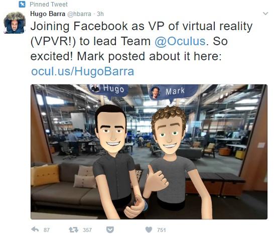 Хьюго Барра станет одним из вице-президентов Facebook